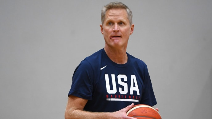 MELBOURNE, AUSTRALIA - AUGUST 19: Steve Kerr the assistant coach of the USA National Team looks on during the United States of America Team USA National basketball team training session at Melbourne Sports and Aquatic Centre on August 19, 2019 in Melbourne, Australia. (Photo by Quinn Rooney/Getty Images)