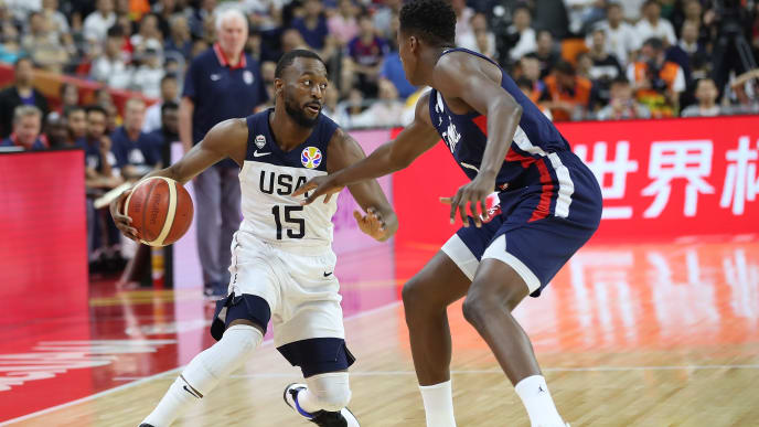 DONGGUAN, CHINA - SEPTEMBER 11:  Kemba Walker of USA in action against  Frank Ntilikina #1of France during FIBA World Cup 2019 Quarter-finals match between USA and France at Dongguan Basketball Center on September 11, 2019 in Dongguan, China.  (Photo by Lintao Zhang/Getty Images)