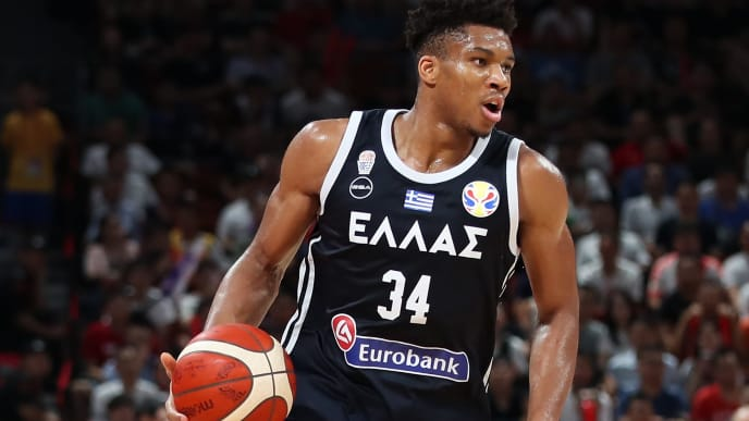 SHENZHEN, CHINA - SEPTEMBER 07:  Giannis Antetokounmpo #34 of Greece in action during FIBA World Cup 2019 Group K match between USA and Greece at Shenzhen Bay Sports Centre on September 7, 2019 in Shenzhen, China.  (Photo by Lintao Zhang/Getty Images)