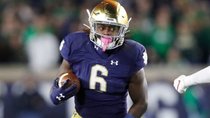 SOUTH BEND, IN - OCTOBER 12: Tony Jones Jr. #6 of the Notre Dame Fighting Irish runs with the ball during a game against the USC Trojans at Notre Dame Stadium on October 12, 2019 in South Bend, Indiana. Notre Dame defeated USC 30-27. (Photo by Joe Robbins/Getty Images)