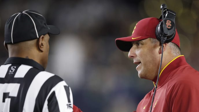 SOUTH BEND, IN - OCTOBER 12: Head coach Clay Helton of the USC Trojans argues with an official in the first half of the game against the Notre Dame Fighting Irish at Notre Dame Stadium on October 12, 2019 in South Bend, Indiana. (Photo by Joe Robbins/Getty Images)