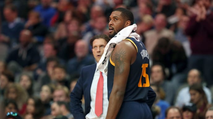 DALLAS, TX - NOVEMBER 14:  Derrick Favors #15 of the Utah Jazz reacts after being called for a flagrant foul against the Dallas Mavericks in the fourth quarter at American Airlines Center on November 14, 2018 in Dallas, Texas. NOTE TO USER: User expressly acknowledges and agrees that, by downloading and or using this photograph, User is consenting to the terms and conditions of the Getty Images License Agreement.  (Photo by Tom Pennington/Getty Images)