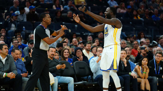 SAN FRANCISCO, CALIFORNIA - NOVEMBER 11: Draymond Green #23 of the Golden State Warriors is ejected by referee Sean Wright #4 during the second half against the Utah Jazz at Chase Center on November 11, 2019 in San Francisco, California. NOTE TO USER: User expressly acknowledges and agrees that, by downloading and/or using this photograph, user is consenting to the terms and conditions of the Getty Images License Agreement. (Photo by Daniel Shirey/Getty Images)
