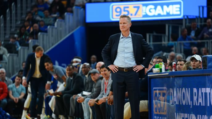 SAN FRANCISCO, CALIFORNIA - NOVEMBER 11: Golden State Warriors head coach Steve Kerr during the first half against the Utah Jazz at Chase Center on November 11, 2019 in San Francisco, California. NOTE TO USER: User expressly acknowledges and agrees that, by downloading and/or using this photograph, user is consenting to the terms and conditions of the Getty Images License Agreement. (Photo by Daniel Shirey/Getty Images)