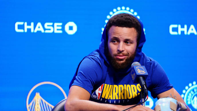 SAN FRANCISCO, CALIFORNIA - NOVEMBER 11: Stephen Curry #30 of the Golden State Warriors speaks to the media during a press conference prior to the game against the Utah Jazz at Chase Center on November 11, 2019 in San Francisco, California. NOTE TO USER: User expressly acknowledges and agrees that, by downloading and/or using this photograph, user is consenting to the terms and conditions of the Getty Images License Agreement. (Photo by Daniel Shirey/Getty Images)