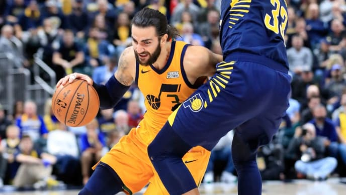 INDIANAPOLIS, IN - NOVEMBER 19:  Ricky Rubio #3 of the Utah Jazz dribbles the ball against the Indiana Pacers at Bankers Life Fieldhouse on November 19, 2018 in Indianapolis, Indiana.   NOTE TO USER: User expressly acknowledges and agrees that, by downloading and or using this photograph, User is consenting to the terms and conditions of the Getty Images License Agreement.  (Photo by Andy Lyons/Getty Images)