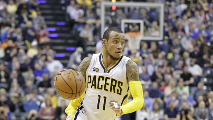 INDIANAPOLIS, IN - MARCH 20:  Monta Ellis #11 of the Indiana Pacers dribbles the ball against the Utah Jazz  at Bankers Life Fieldhouse on March 20, 2017 in Indianapolis, Indiana.   NOTE TO USER: User expressly acknowledges and agrees that, by downloading and or using this photograph, User is consenting to the terms and conditions of the Getty Images License Agreement  (Photo by Andy Lyons/Getty Images)