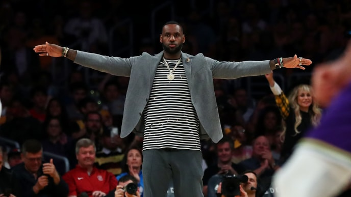 LOS ANGELES, CALIFORNIA - APRIL 07: LeBron James #23 of the Los Angeles Lakers celebrates after a play against the Utah Jazz during the second half at Staples Center on April 07, 2019 in Los Angeles, California. NOTE TO USER: User expressly acknowledges and agrees that, by downloading and or using this photograph, User is consenting to the terms and conditions of the Getty Images License Agreement. (Photo by Yong Teck Lim/Getty Images)
