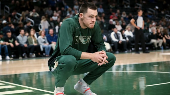 MILWAUKEE, WISCONSIN - OCTOBER 09:  Pat Connaughton #24 of the Milwaukee Bucks looks on before a preseason game against the Utah Jazz at Fiserv Forum on October 09, 2019 in Milwaukee, Wisconsin. NOTE TO USER: User expressly acknowledges and agrees that, by downloading and or using this photograph, User is consenting to the terms and conditions of the Getty Images License Agreement. (Photo by Dylan Buell/Getty Images)