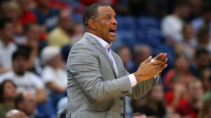 NEW ORLEANS, LOUISIANA - OCTOBER 11: Head coach Alvin Gentry of the New Orleans Pelicans reacts during a preseason game against the Utah Jazz at the Smoothie King Center on October 11, 2019 in New Orleans, Louisiana. NOTE TO USER: User expressly acknowledges and agrees that, by downloading and or using this Photograph, user is consenting to the terms and conditions of the Getty Images License Agreement.  (Photo by Jonathan Bachman/Getty Images)