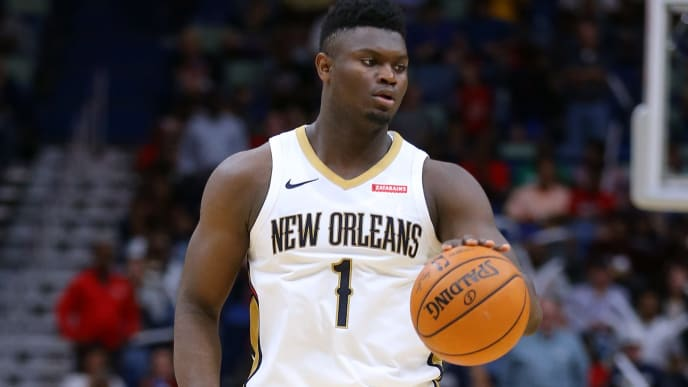 NEW ORLEANS, LOUISIANA - OCTOBER 11: Zion Williamson #1 of the New Orleans Pelicans in action during a preseason game against the Utah Jazz at the Smoothie King Center on October 11, 2019 in New Orleans, Louisiana. NOTE TO USER: User expressly acknowledges and agrees that, by downloading and or using this Photograph, user is consenting to the terms and conditions of the Getty Images License Agreement.  (Photo by Jonathan Bachman/Getty Images)