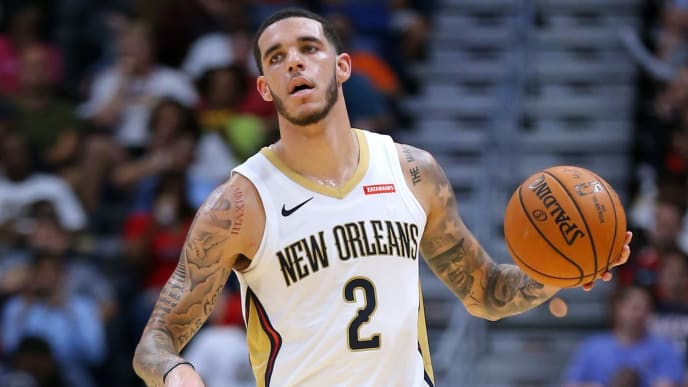 NEW ORLEANS, LOUISIANA - OCTOBER 11: Lonzo Ball #2 of the New Orleans Pelicans drives with the ball during a preseason game against the Utah Jazz at the Smoothie King Center on October 11, 2019 in New Orleans, Louisiana. NOTE TO USER: User expressly acknowledges and agrees that, by downloading and or using this Photograph, user is consenting to the terms and conditions of the Getty Images License Agreement.  (Photo by Jonathan Bachman/Getty Images)