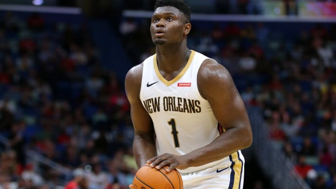 NEW ORLEANS, LOUISIANA - OCTOBER 11: Zion Williamson #1 of the New Orleans Pelicans shoots during a preseason game against the Utah Jazz at the Smoothie King Center on October 11, 2019 in New Orleans, Louisiana. NOTE TO USER: User expressly acknowledges and agrees that, by downloading and or using this Photograph, user is consenting to the terms and conditions of the Getty Images License Agreement.  (Photo by Jonathan Bachman/Getty Images)