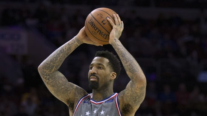 PHILADELPHIA, PA - NOVEMBER 16: Wilson Chandler #22 of the Philadelphia 76ers controls the ball against the Utah Jazz at the Wells Fargo Center on November 16, 2018 in Philadelphia, Pennsylvania. NOTE TO USER: User expressly acknowledges and agrees that, by downloading and or using this photograph, User is consenting to the terms and conditions of the Getty Images License Agreement. (Photo by Mitchell Leff/Getty Images)