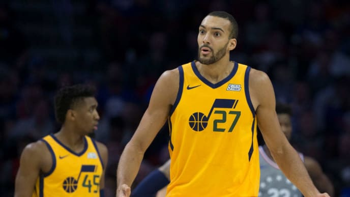 PHILADELPHIA, PA - NOVEMBER 16: Rudy Gobert #27 of the Utah Jazz reacts against the Philadelphia 76ers at the Wells Fargo Center on November 16, 2018 in Philadelphia, Pennsylvania. NOTE TO USER: User expressly acknowledges and agrees that, by downloading and or using this photograph, User is consenting to the terms and conditions of the Getty Images License Agreement. (Photo by Mitchell Leff/Getty Images)