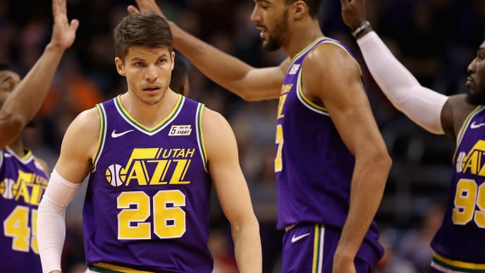 PHOENIX, ARIZONA - MARCH 13:  Kyle Korver #26 of the Utah Jazz reacts after scoring against the Phoenix Suns during the second half of the NBA game at Talking Stick Resort Arena on March 13, 2019 in Phoenix, Arizona. (Photo by Christian Petersen/Getty Images)