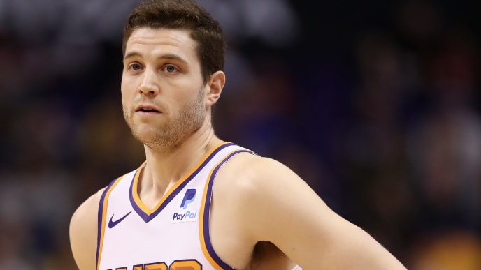 PHOENIX, ARIZONA - APRIL 03:  Jimmer Fredette #32 of the Phoenix Suns during the second half of the NBA game against the Utah Jazz at Talking Stick Resort Arena on April 03, 2019 in Phoenix, Arizona. (Photo by Christian Petersen/Getty Images)