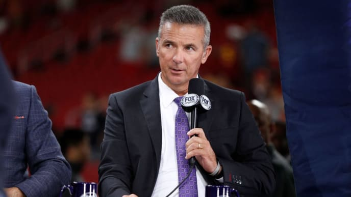 LOS ANGELES, CALIFORNIA - SEPTEMBER 20: Former player Urban Meyer, rumored to be the next USC head coach, appears at the USC game against the Utah Utes at Los Angeles Memorial Coliseum on September 20, 2019 in Los Angeles, California. (Photo by Meg Oliphant/Getty Images)