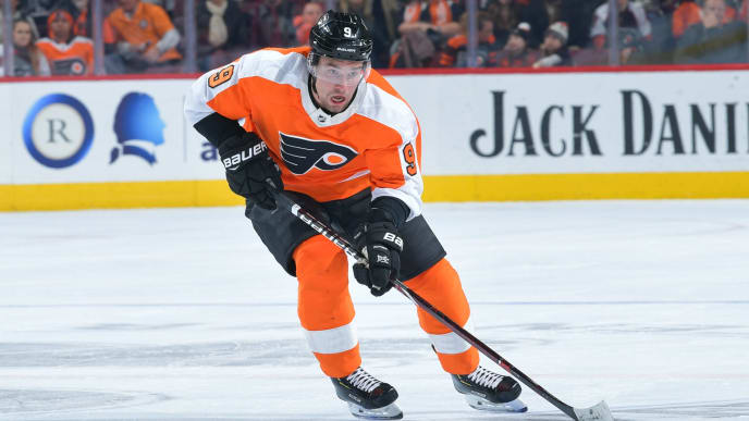 PHILADELPHIA, PENNSYLVANIA - FEBRUARY 04: Ivan Provorov #9 of the Philadelphia Flyers skates against the Vancouver Canucks during the second period at Wells Fargo Center on February 04, 2019 in Philadelphia, Pennsylvania. (Photo by Drew Hallowell/Getty Images)