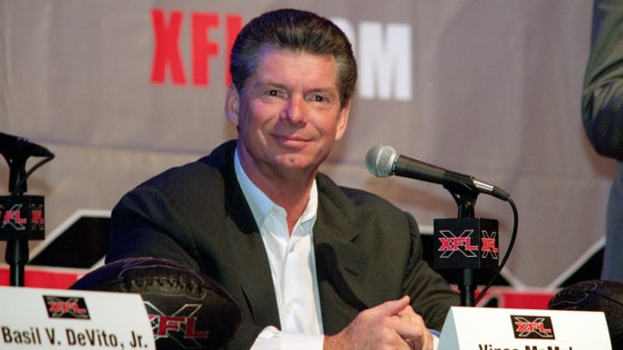 12 Jul 2000: Vince McMahon smiles during the XFL Press Conference at the House of Blues in Los Angeles, California.Mandatory Credit: Tom Hauck  /Allsport