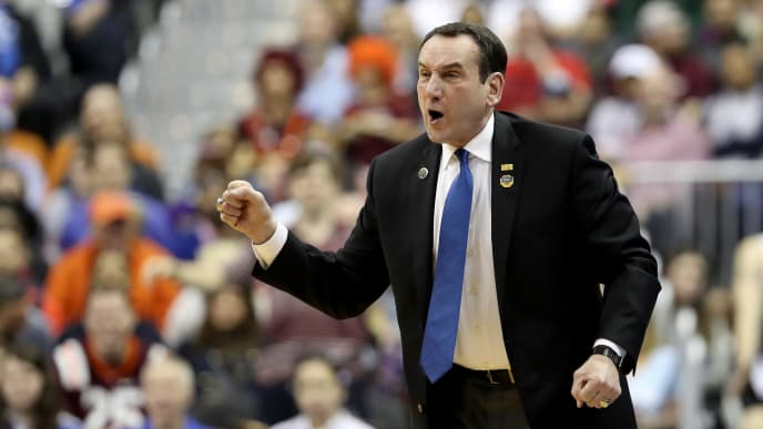 WASHINGTON, DC - MARCH 29: Head coach Mike Krzyzewski of the Duke Blue Devils shouts against the Virginia Tech Hokies during the first half in the East Regional game of the 2019 NCAA Men's Basketball Tournament at Capital One Arena on March 29, 2019 in Washington, DC. (Photo by Rob Carr/Getty Images)