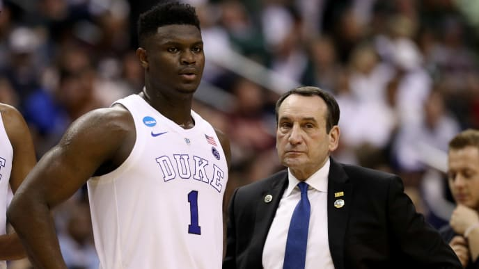 WASHINGTON, DC - MARCH 29: Zion Williamson #1 and head coach Mike Krzyzewski of the Duke Blue Devils talk against the Virginia Tech Hokies during the first half in the East Regional game of the 2019 NCAA Men's Basketball Tournament at Capital One Arena on March 29, 2019 in Washington, DC. (Photo by Patrick Smith/Getty Images)