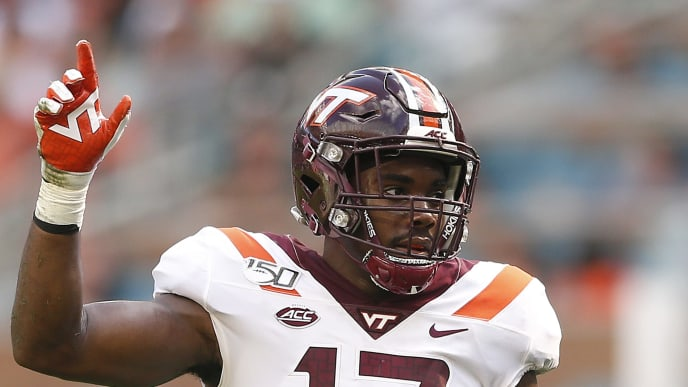 MIAMI, FLORIDA - OCTOBER 05:  Divine Deablo #17 of the Virginia Tech Hokies looks on against the Miami Hurricanes during the first half at Hard Rock Stadium on October 05, 2019 in Miami, Florida. (Photo by Michael Reaves/Getty Images)