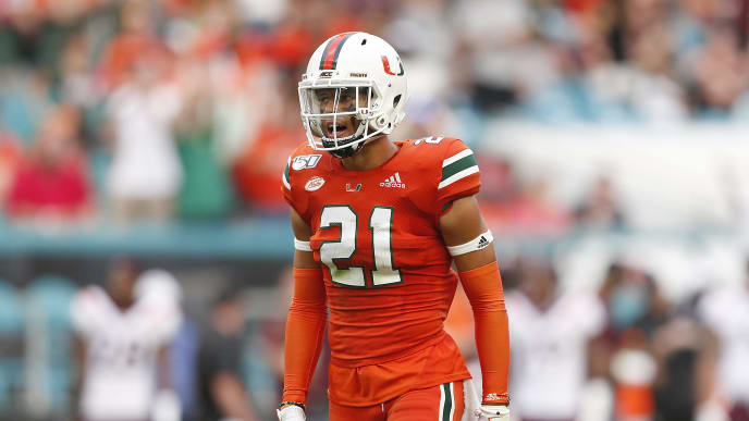 MIAMI, FLORIDA - OCTOBER 05:  Bubba Bolden #21 of the Miami Hurricanes reacts against the Virginia Tech Hokies during the second half at Hard Rock Stadium on October 05, 2019 in Miami, Florida. (Photo by Michael Reaves/Getty Images)