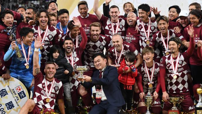 Hiroshi Mikitani, Andres Iniesta, David Villa, Lukas Podolski, Sergi Samper