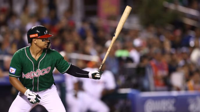 ZAPOPAN, MEXICO - NOVEMBER 03: Javier Salazar #02 of México bats during the WBSC Premier 12 Group A match between Mexico and USA at Estadio de Beisbol Charros de Jalisco on November 3, 2019 in Zapopan, Mexico. (Photo by Refugio Ruiz/Getty Images)