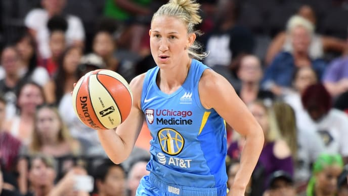 LAS VEGAS, NEVADA - JULY 26:  Courtney Vandersloot of the Chicago Sky competes during the Skills Challenge of the WNBA All-Star Friday Night at the Mandalay Bay Events Center on July 26, 2019 in Las Vegas, Nevada. NOTE TO USER: User expressly acknowledges and agrees that, by downloading and or using this photograph, User is consenting to the terms and conditions of the Getty Images License Agreement.  (Photo by Ethan Miller/Getty Images)