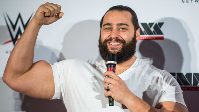 DUESSELDORF, GERMANY - FEBRUARY 22: Rusev arrives prior to the WWE Live Duesseldorf event at ISS Dome on February 22, 2017 in Duesseldorf, Germany. (Photo by Lukas Schulze/Bongarts/Getty Images)