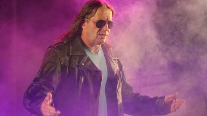 "DURBAN, SOUTH AFRICA - JULY 08:  Special guest referee Bret ""The Hitman"" Hart is introduced during the WWE Smackdown Live Tour at Westridge Park Tennis Stadium on July 08, 2011 in Durban, South Africa.  (Photo by Steve Haag/Gallo Images/Getty Images)"