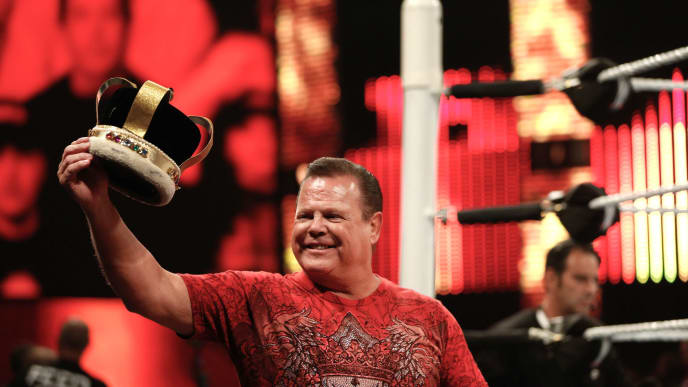 "NEW YORK, NY - AUGUST 23:  Jerry ""The King"" Lawler addresses the audience at the WWE SummerSlam 2015 at Barclays Center of Brooklyn on August 23, 2015 in New York City.  (Photo by JP Yim/Getty Images)"