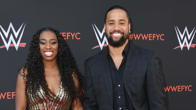 "NORTH HOLLYWOOD, CA - JUNE 06:  Naomi and Jimmy Uso attend WWE's First-Ever Emmy ""For Your Consideration"" Event at Saban Media Center on June 6, 2018 in North Hollywood, California.  (Photo by Jon Kopaloff/Getty Images)"