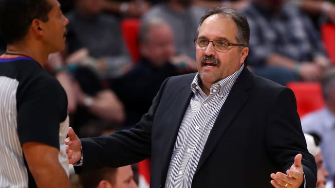 DETROIT, MI - JANUARY 19: Head coach Stan Van Gundy reacts to a call while playing the Washington Wizards at Little Caesars Arena on January 19, 2018 in Detroit, Michigan. Washington won the game 122-112. NOTE TO USER: User expressly acknowledges and agrees that, by downloading and or using this photograph, User is consenting to the terms and conditions of the Getty Images License Agreement. (Photo by Gregory Shamus/Getty Images)