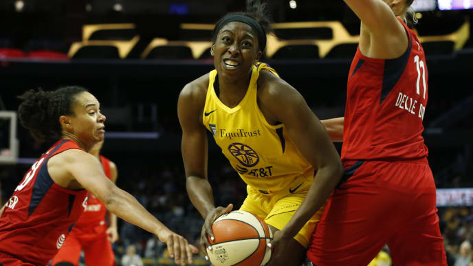 LOS ANGELES, CALIFORNIA - JUNE 18:   Forward Chiney Ogwumike #13 of the Los Angeles Sparks looks to put up a shot during a game against the Washington Mystics at Staples Center on June 18, 2019 in Los Angeles, California. NOTE TO USER: User expressly acknowledges and agrees that, by downloading and or using this photograph, User is consenting to the terms and conditions of the Getty Images License Agreement. (Photo by Katharine Lotze/Getty Images)