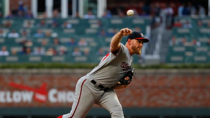 ATLANTA, GEORGIA - SEPTEMBER 05:  Stephen Strasburg #37 of the Washington Nationals pitches in the first inning against the Atlanta Braves at SunTrust Park on September 05, 2019 in Atlanta, Georgia. (Photo by Kevin C. Cox/Getty Images)