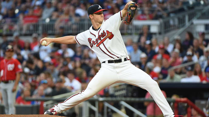 ATLANTA, GEORGIA - JULY 20: Mike Soroka #40 of the Atlanta Braves pitches in the 3rd inning against the Washington Nationals at SunTrust Park on July 20, 2019 in Atlanta, Georgia. (Photo by Logan Riely/Getty Images)