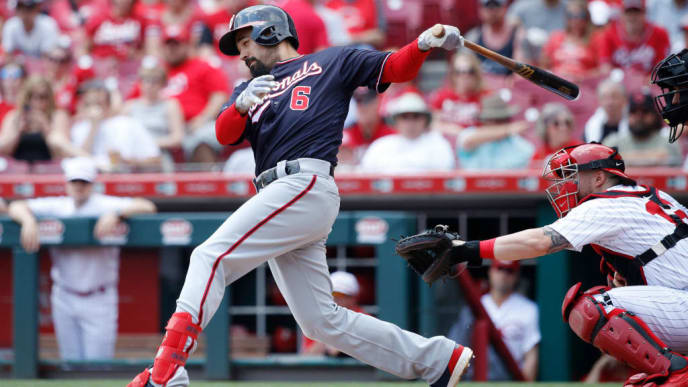 CINCINNATI, OH - JUNE 02: Anthony Rendon #6 of the Washington Nationals singles to left center field to drive in a run in the first inning against the Cincinnati Reds at Great American Ball Park on June 2, 2019 in Cincinnati, Ohio. (Photo by Joe Robbins/Getty Images)