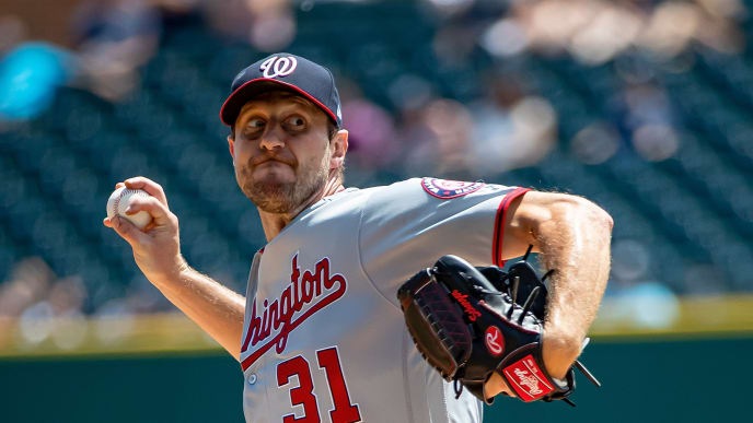 DETROIT, MI - JUNE 30: Max Scherzer #31 of the Washington Nationals pitches in the sixth inning during a MLB game against the Detroit Tigers at Comerica Park on June 30, 2019 in Detroit, Michigan. Washington defeated the Detroit 2-1. (Photo by Dave Reginek/Getty Images)