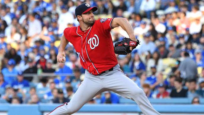 LOS ANGELES, CA - MAY 11: Max Scherzer #31 of the Washington Nationals pitches in the second inning of the game against the Los Angeles Dodgers at Dodger Stadium on May 11, 2019 in Los Angeles, California. (Photo by Jayne Kamin-Oncea/Getty Images)