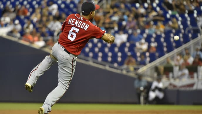 MIAMI, FL - SEPTEMBER 22: Anthony Rendon #6 of the Washington Nationals throws towards first base during the second inning against the Miami Marlins at Marlins Park on September 22, 2019 in Miami, Florida. (Photo by Eric Espada/Getty Images)