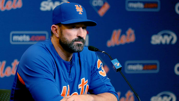 NEW YORK, NEW YORK - MAY 20:  New York Mets manager Mickey Callaway #36 of the New York Mets answers questions during a press conference before the game between the New York Mets and the Washington Nationals at Citi Field on May 20, 2019 in the Flushing neighborhood of the Queens borough of New York City. (Photo by Elsa/Getty Images)