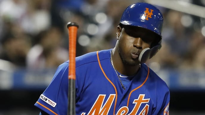 NEW YORK, NEW YORK - MAY 22: Adeiny Hechavarria #11 of the New York Mets is walked in the fifth inning against the Washington Nationals during their game at Citi Field on May 22, 2019 in New York City. (Photo by Michael Owens/Getty Images)