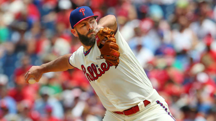 PHILADELPHIA, PA - JULY 14:  Pitcher Jake Arrieta #49 of the Philadelphia Phillies delivers a pitch against the Washington Nationals in the first inning during a baseball game at Citizens Bank Park on July 14, 2019 in Philadelphia, Pennsylvania. The Phillies defeated the Nationals 4-3. (Photo by Rich Schultz/Getty Images)