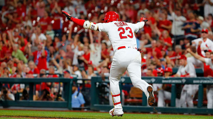 ST LOUIS, MO - SEPTEMBER 16: Marcell Ozuna #23 of the St. Louis Cardinals celebrates after driving in two runs with a ground-rule double against the Washington Nationals in the seventh inning at Busch Stadium on September 16, 2019 in St Louis, Missouri. (Photo by Dilip Vishwanat/Getty Images)