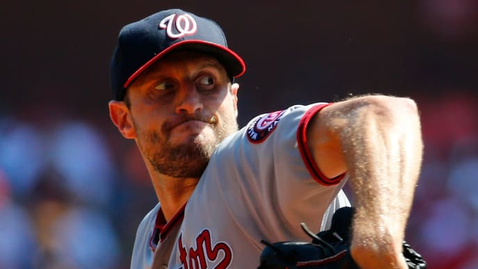 ST LOUIS, MO - SEPTEMBER 18: Max Scherzer #31 of the Washington Nationals delivers a pitch against the St. Louis Cardinals in the first inning at Busch Stadium on September 18, 2019 in St Louis, Missouri. (Photo by Dilip Vishwanat/Getty Images)