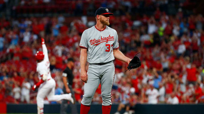 ST LOUIS, MO - SEPTEMBER 16: Stephen Strasburg #37 of the Washington Nationals reacts after giving up a two-run home run to Marcell Ozuna #23 of the St. Louis Cardinals in the first inning at Busch Stadium on September 16, 2019 in St Louis, Missouri. (Photo by Dilip Vishwanat/Getty Images)