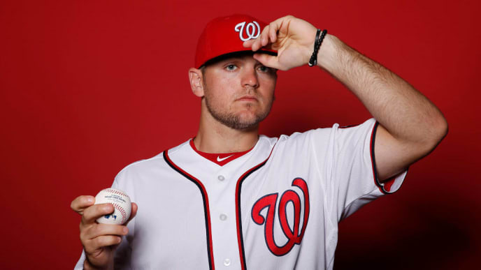 WEST PALM BEACH, FLORIDA - FEBRUARY 22:  Wil Crowe #72 of the Washington Nationals poses for a portrait on Photo Day at FITTEAM Ballpark of The Palm Beaches during on February 22, 2019 in West Palm Beach, Florida. (Photo by Michael Reaves/Getty Images)